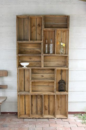 recycled fruit boxes DIY into a bookcase
