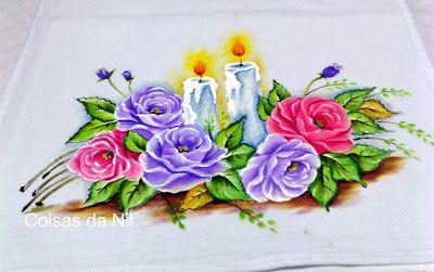 Coisas da Nil - Pintura em tecido: Rosas lilases...