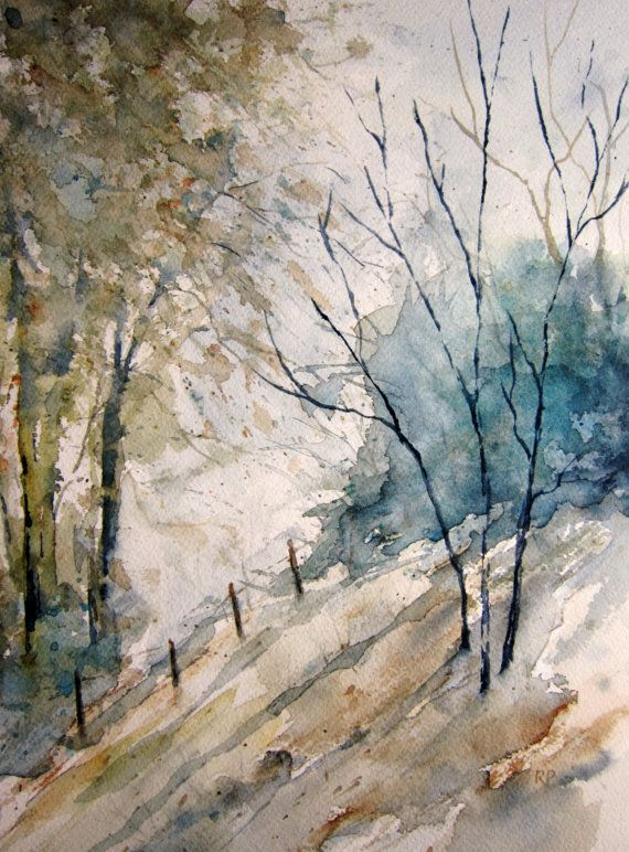 Woods Landscape, Print of Original Watercolor Painting matted 10x8 and ready to frame 14x11 watercolor art watercolor print
