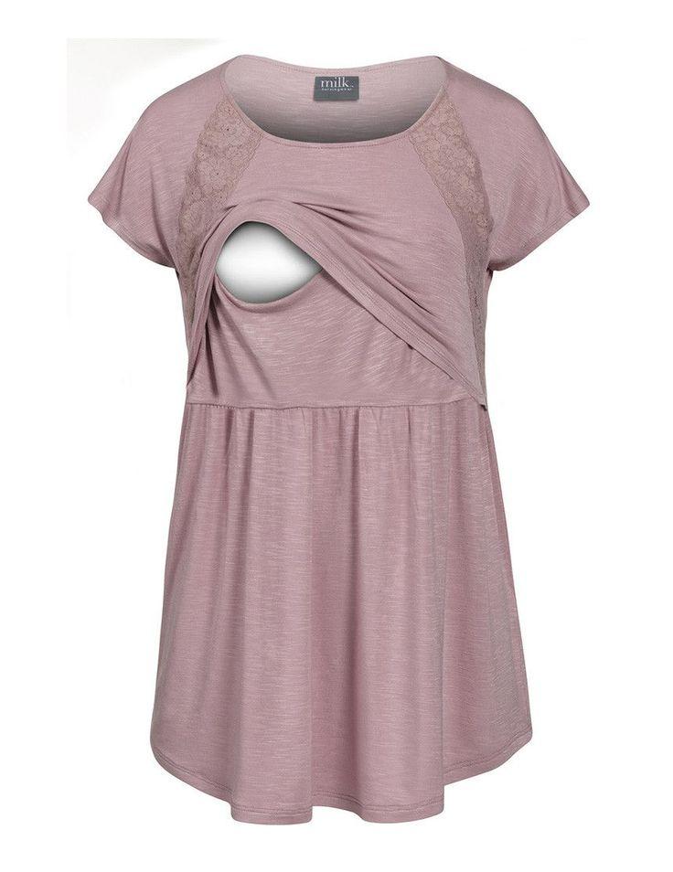 Lace-accent maternity and nursing slub tee - milkandbaby.com