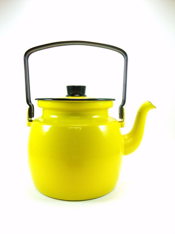Vintage Arabia Finel Finland Enamel Teapot ~ Tea Kettle ~ Designed by Kaj Franck ~ Brilliant Yellow ~ Modernist ~ Minimalist ~ Mid-Century on Etsy, $96.15