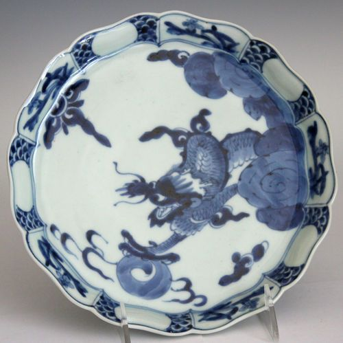 Antique Imari Porcelain Blue Amp White Japanese Dragon Plate
