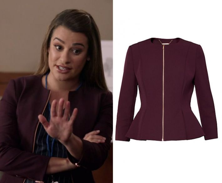 "by Kirsty0 Comments Valentina Barella (Lea Michele) wears this burgundy red gold zip up peplum jacket in this episode of The Mayor, ""The Filibuster"". It is the Ted Baker Suria Peplum Zip Front Jacket."