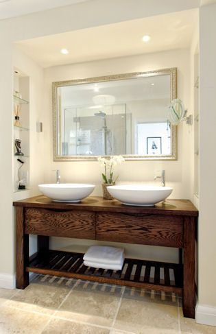 Handmade Free Standing Oak Bathroom Wash Stand With 2 BC Designs Tasse Thinn Basins For The Area By Dining Room