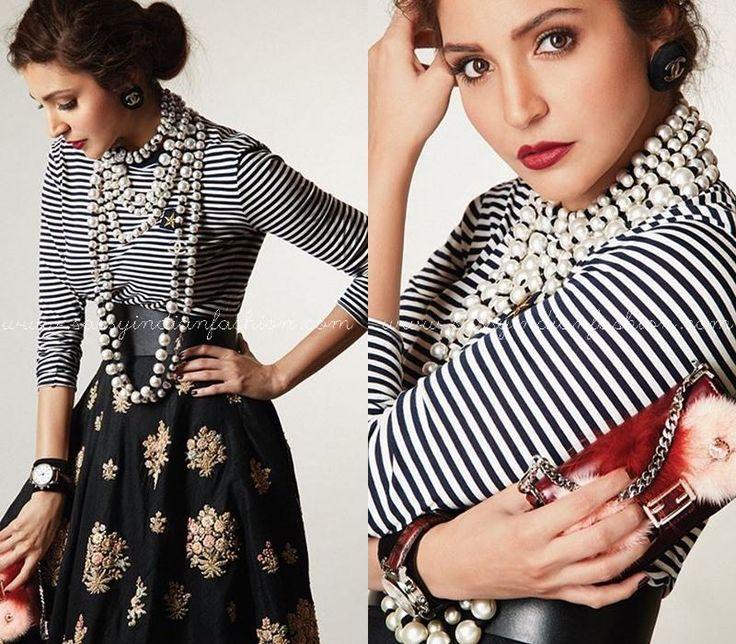 Anushka Sharma in Black and White Striped Tops and Skirts