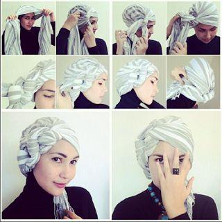 Cara Memakai Hijab Turban Ikat