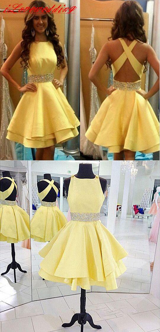 Short A-line Yellow Homecoming Dress 2016, cross back homecoming dress
