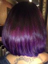 Integrated Balayage Purple Diagonal Forward Haircut