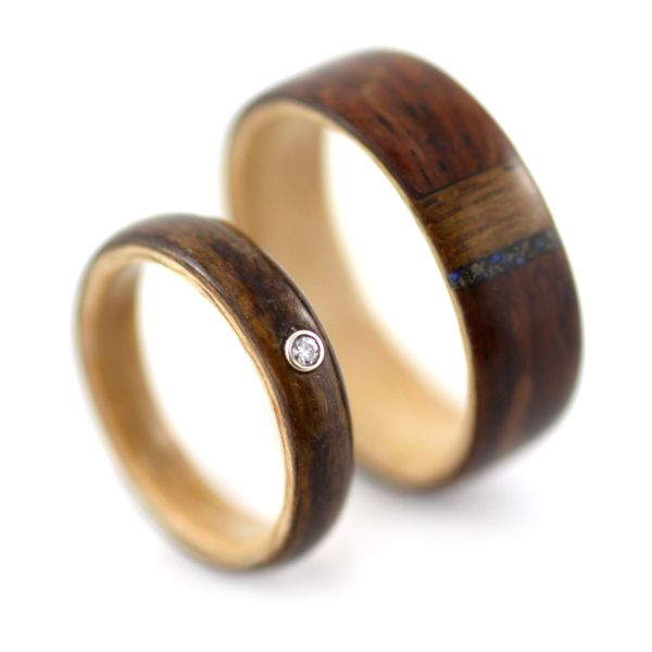 Rosewood and teak rings with moissanite and lapis lazuli, by Simply Wood Rings