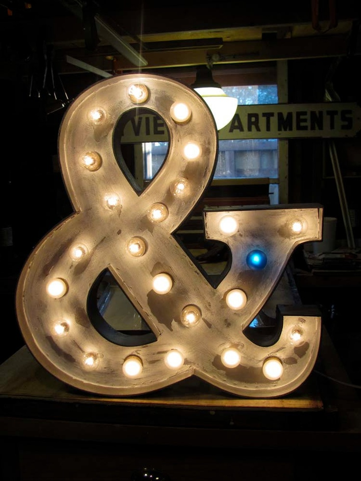 3ft x 3ft distressed  light-up marquee ampersand. $300.00, via Etsy.