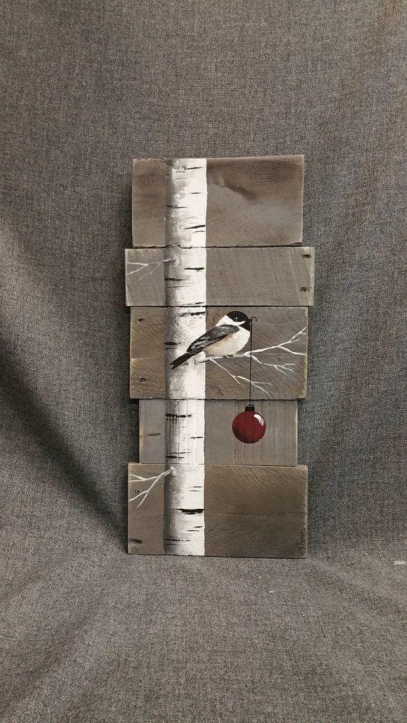 Christmas sign White Birch red bulb Gray by TheWhiteBirchStudio