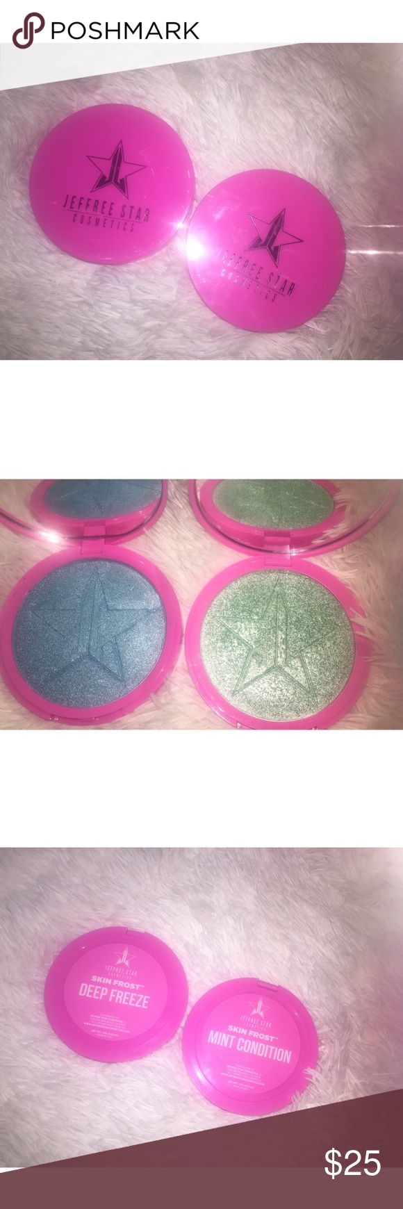 ✨Jeffree Star Mint Condition & Deep Freeze✨ Bundle of two highlighters, both gorgeous fun colors! Deep freeze has been swatched but never used, and I've used mint condition maybe twice. I included a proof of purchase since I know there are a lot of fakes out there. Love both of these but unfortunately must declutter, not looking to trade trying to downsize! ✨ Makeup Luminizer