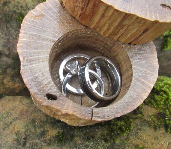 Country Wedding Ring Box Wooden Ring Bearer Box by Trees2Art