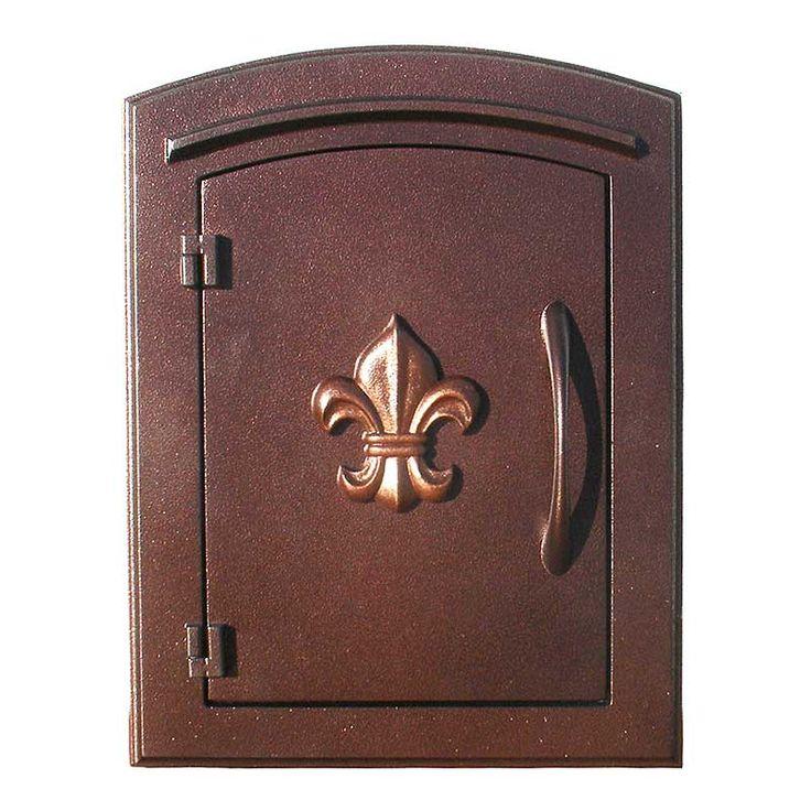 $299 - QualArc   Manchester Column Mailbox with Fleur de Lis Emblem in Antique Copper   Residential Mailbox
