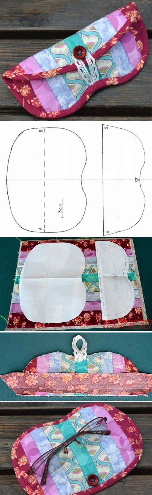 Patchwork glasses case, quilted, handmade, eyeglass case. Step by step photo tutorial. http://www.handmadiya.com/2016/05/glasses-case-tutorial.html Más                                                                                                                                                                                 Más