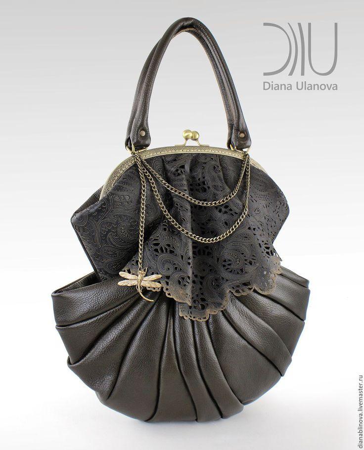 """Купить бронь Ракушка Винтаж (Колл.ия """"Восточный Экспресс"""")бронза - черный, однотонный, винтажная сумка"""