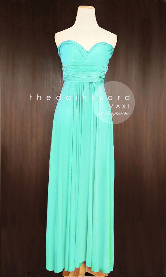 MAXI Turquoise Bridesmaid Convertible Dress by thedaintyard
