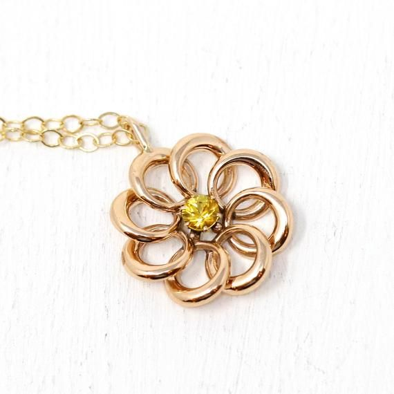 Love Knot Necklace Antique 10k Gold Looped Brooch Conversion Vintage Pendant Edwardian 1900s 34 Ct Yellow Sapphire Fine Jewelry Knot Necklace Brooch Sapphire Necklace