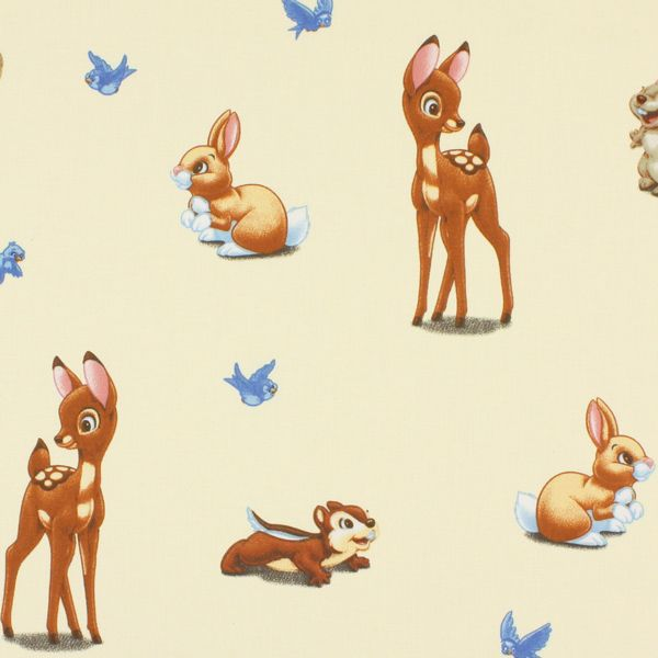 Disney Bambi 1 - creme - Kinderstoffen met dieren - Kinderstoffen voor meisjes - Kinderstoffen Comic - Decoratiestoffen voor kinderen - Disneystoffen - stoffen.net