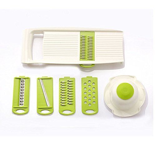 Creative Multifunction Kitchen Tools  Fruits Vegetables Mandoline Slicer  Stainless Steel Blades Cutter Graters Julienne Slicers with Food Safety Holder 5 Pcsset  Bpafree ABS Plastic * Details can be found by clicking on the image.