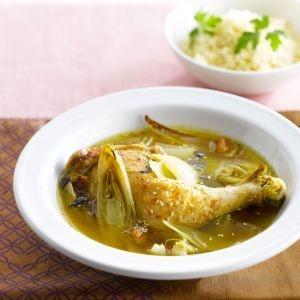 Recepten - Tajine van kip met witloof