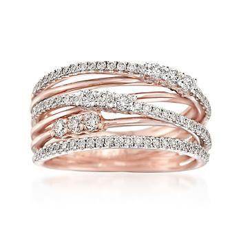 Ross-Simons - Simon G. .66 ct. t.w. Diamond Crisscross Ring in 18kt Rose Gold - #848529