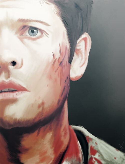 Castiel supernatural fan art (love the simplicity here. Such tiny little brush strokes.)