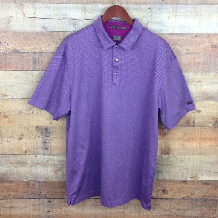 TIGER WOODS Metal TW Logo, NIKE Fit Dry Maroon Gray Stripe Men's Golf Shirt XL #TigerWoodsNike #PoloRugby