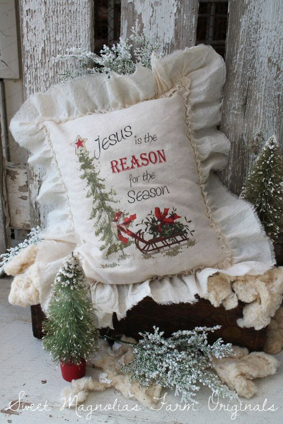Ruffled Christmas Pillow Farmhouse Quot Jesus Is The Reason