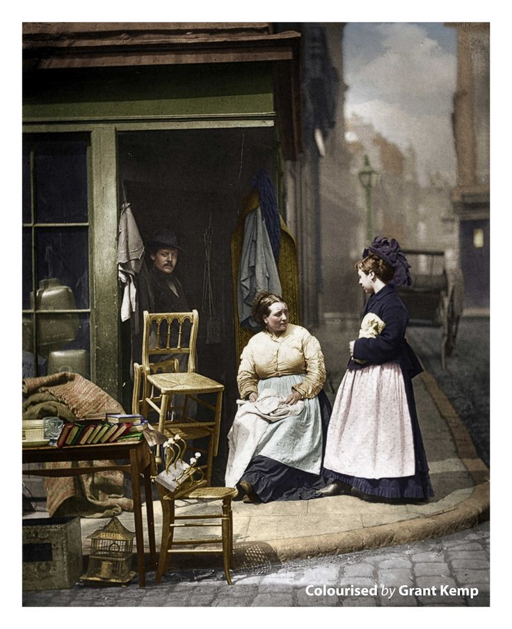 "A second-hand furniture shop - Taken in 1877 by photographer John Thomson, these pictures were originally published in a book co-published with journalist Adolphe Smith titled  ""Street Life in London,"" the tableau scenes provide a glimpse into the lives of the men, and women who worked, and socialized on London's streets."