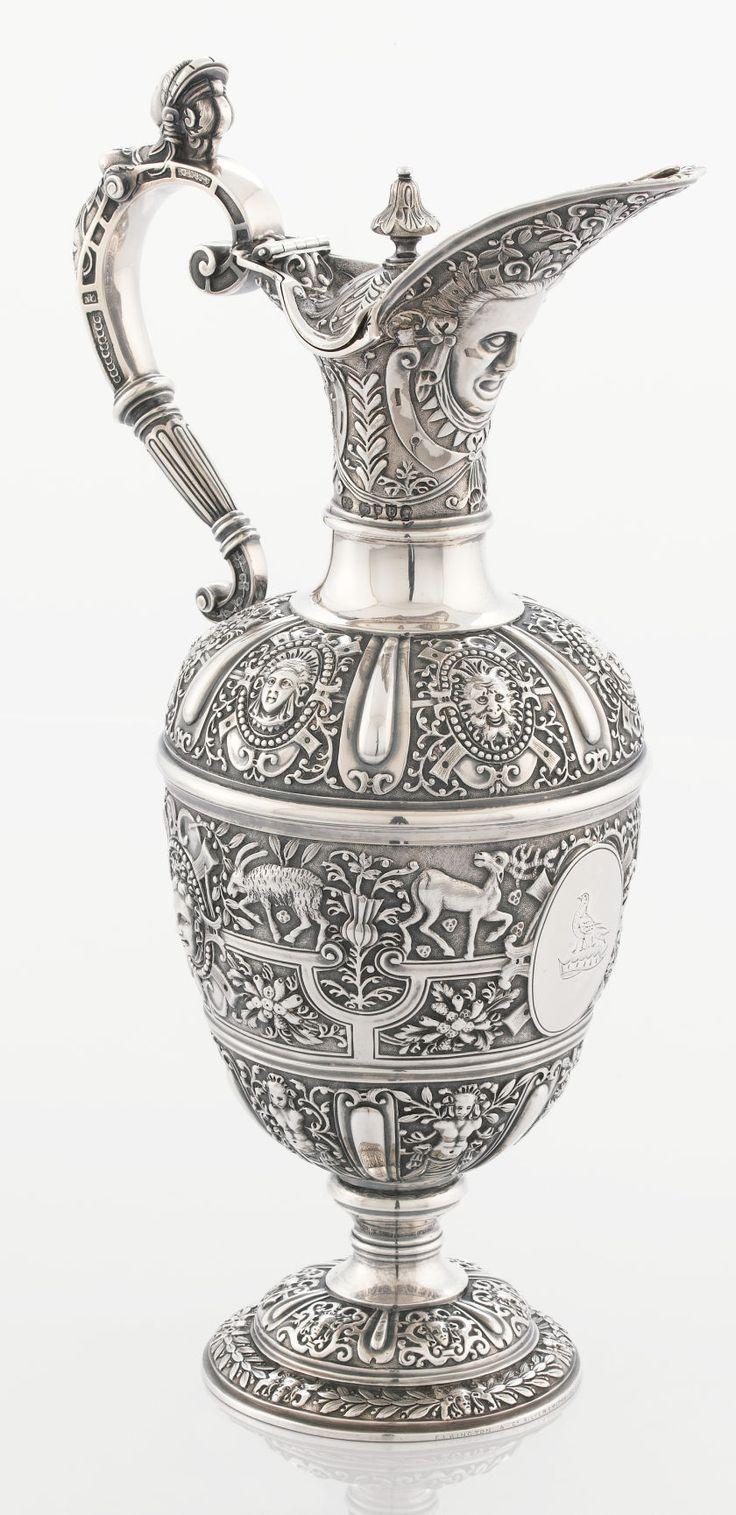 A VICTORIAN SILVER AND SILVER GILT WINE JUG. Elkington & Co.,Birmingham, England, 1880-1881.