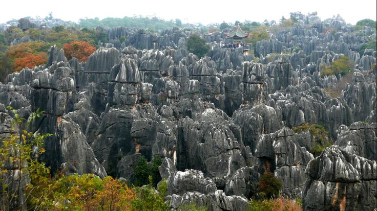 Part of the South China Karst, Shilin (or 'Stone Forest') is a remarkable set of limestone formations in Yunnan Province, believed to be more than 270 million years old. Towering peaks and rocks rise from the ground, many looking like petrified trees and creating the illusion of a forest made of stone