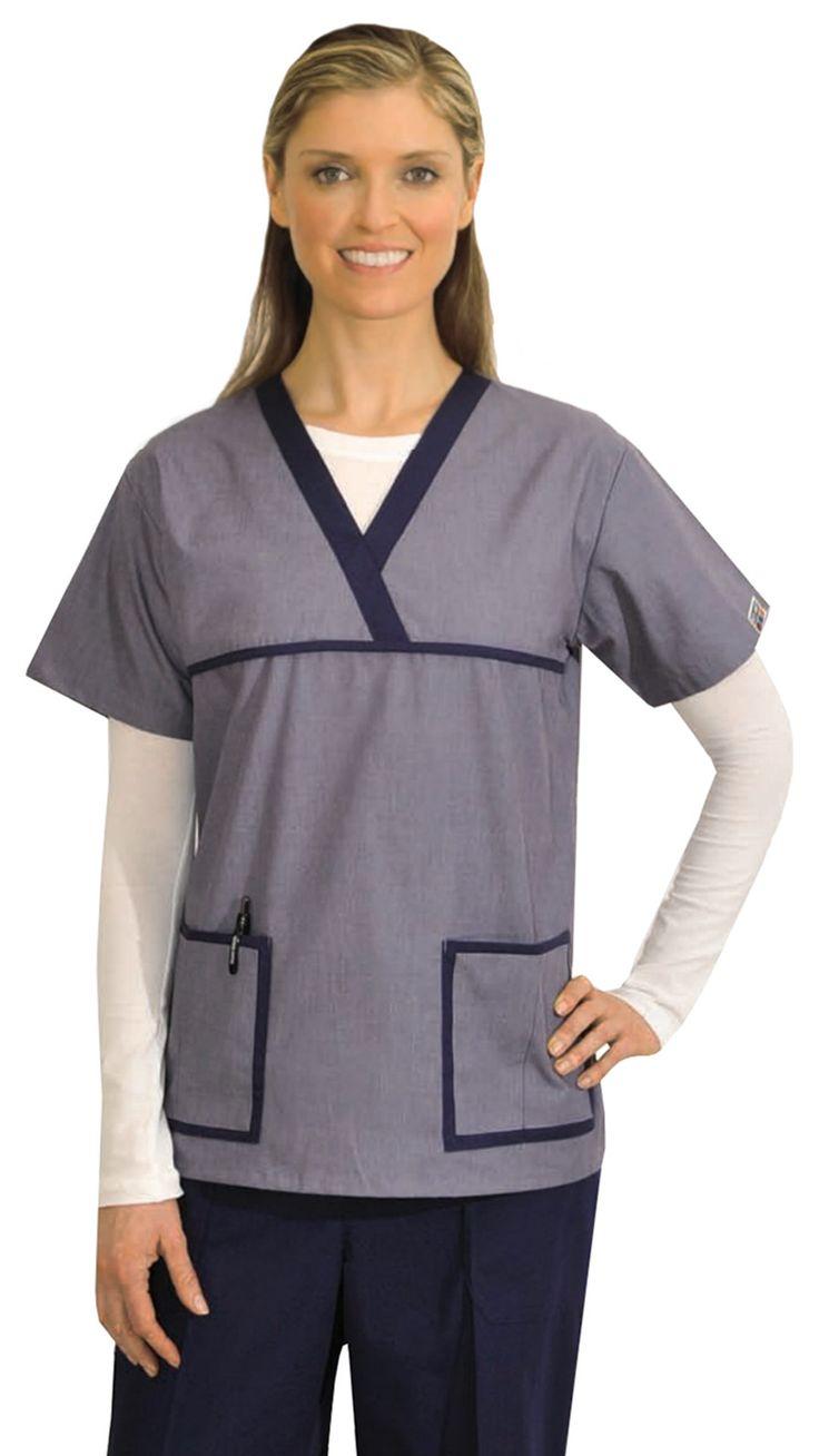 Women's Designer Denim 2 Tone Uniform Scrubs