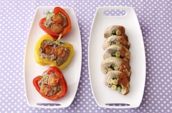 ベビーコーン入の鶏肉ロールと、パプリカの肉詰め。ボリュームのあるおかずが電子レンジで手軽にできます。/野菜たっぷりデリレシピ(「はんど&はあと」2012年6月号)