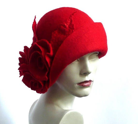 Red felt hat Cloche Felted Hat felt hat Cloche Hat Flapper Hat Art Hat Red Hat La belle epoque Art Deco 1920s hat Art Hats Red hat cloche 1920s hat Hats&Caps Accessories Handmade Great, very flattering hat ! Adapts to the head ! Special and unique ! Sophisticated and elegant ! On order I can make a hat in a different size and color. As the base for my works I use great materials like highest quality Australian merino wool (18 micro). All my works are made by hand in single copies in ...