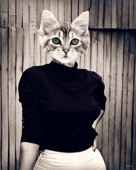 Chat Art, Collage, anthropomorphes, animaux photographie, décoration, impression, noir et blanc, Girly, Pin Up, Vintage, « Chaton » sur Etsy, $27.58 CAD