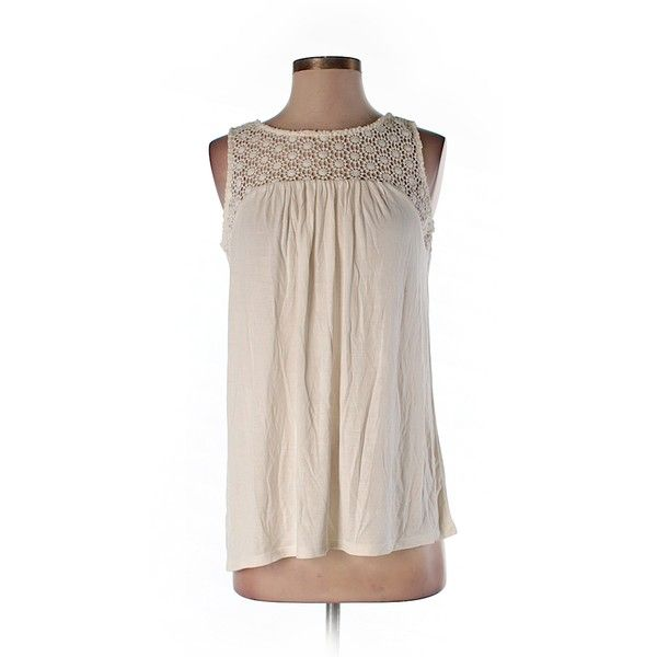 Pre-owned Ann Taylor LOFT Sleeveless Top Size 0: Beige Women's Tops ($16) ❤ liked on Polyvore featuring tops, beige, loft tops, beige tank, pink tank, pink top and sleeveless tank
