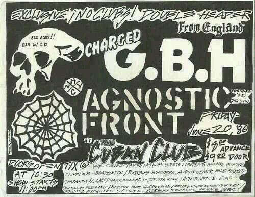 CHARGED GRIEVOUS BODILY HARM  (G.B.H.) and AGNOSTIC FRONT.