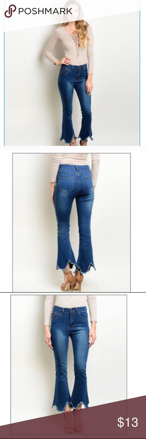 Shredded Denims! These class blue jeans have their own style with a shredded bottom. Pants came in size 01, 03, etc. size 01 fits size 25/26 size 03 fits size 27/28. I have one of each left in stock. Price is marked super low! Tea n Cup Jeans Flare & Wide Leg