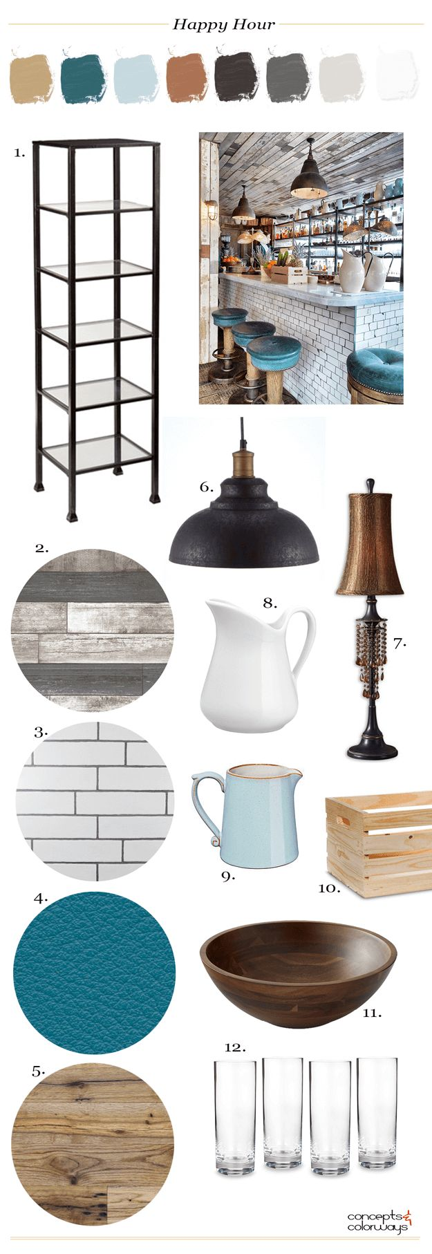 industrial style bar interior, get the look, interiors mood board, teal leather, mission oak, tall hurricane glasses, wood bowl, wood crate, robin's egg blue pitcher, vintage milk pitcher, industrial style black pendant light, copper lamp, gray weathered wood, reclaimed wood, white subway tile, black metal shelves, industrial style interior, interior styling, interior design