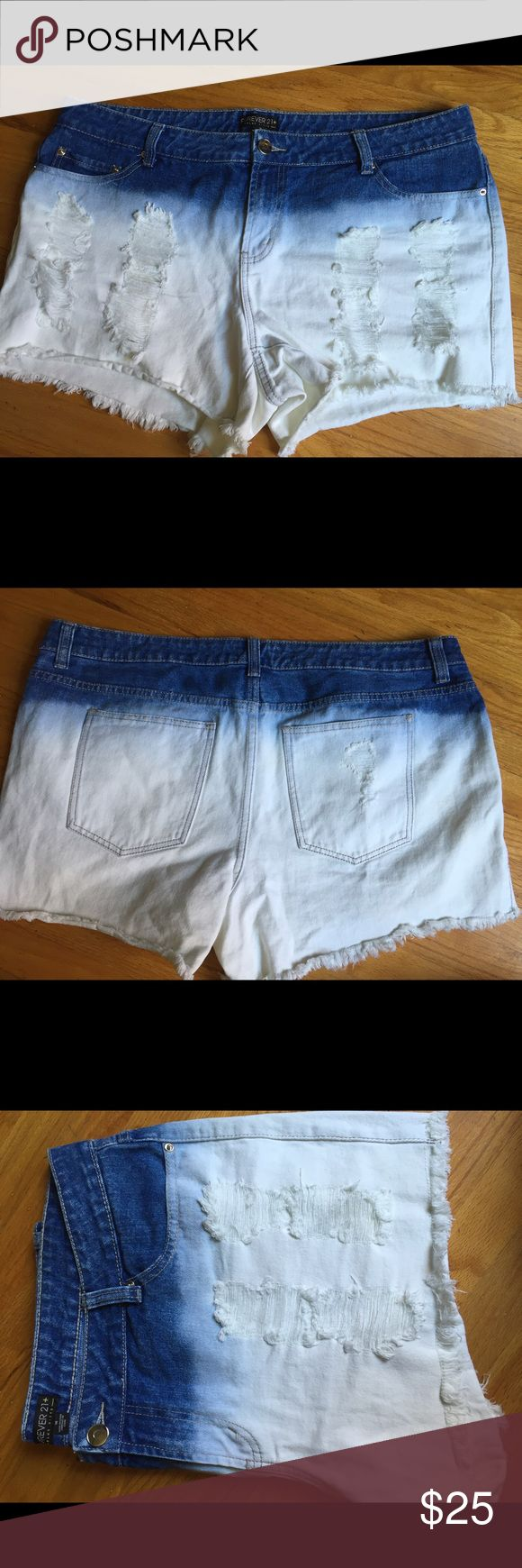 F21 Dip-Dye Shorts NWOT Never worn, only tried on. Denim shorts, bleached dyed & with some distressing! Super cute & perf for summer!!!! Have been laundered, smoke & pet free home! Forever 21 Shorts Jean Shorts