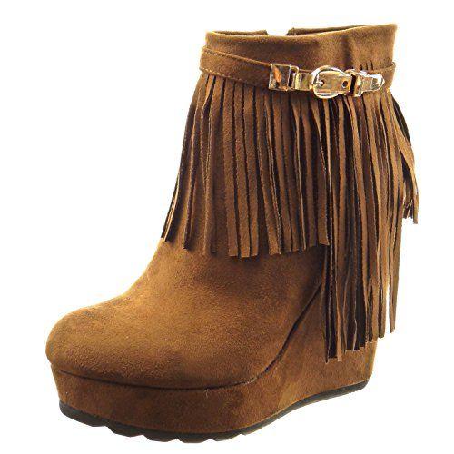 Sopily - damen Mode Schuhe Stiefeletten Plateauschuhe Franse Schleife - Camel - http://on-line-kaufen.de/sopily/sopily-damen-mode-schuhe-stiefeletten-franse-2