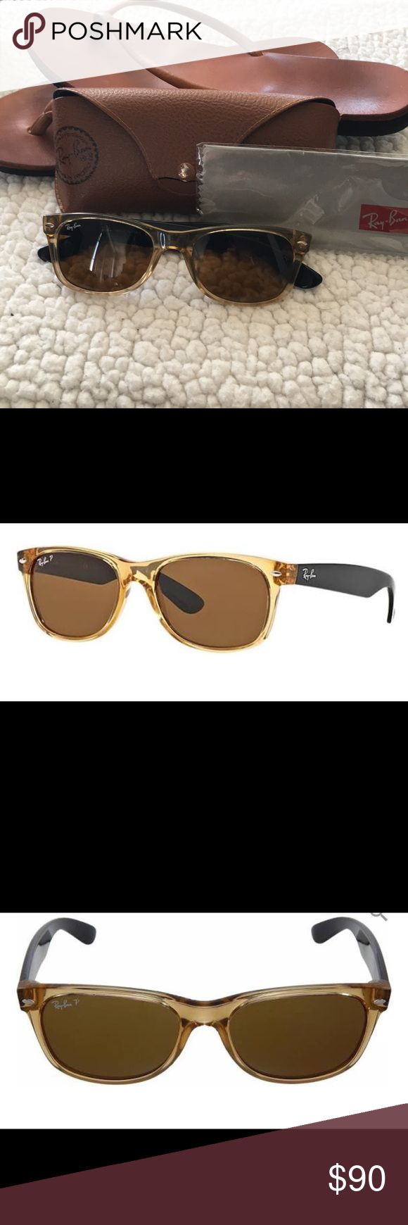 Ray Bans Wayfarer RB2132 New Wayfarer Design Polarized Color: Ivory/Honey Size: 55-18 Lens Size:55mm Bridge Size: 18mm Arm Length: 145mm Normal wear, excellent condition. Scratch on arm (pictured) Hairline scratch on lens (pictured) Ray Ban Accessories Sunglasses
