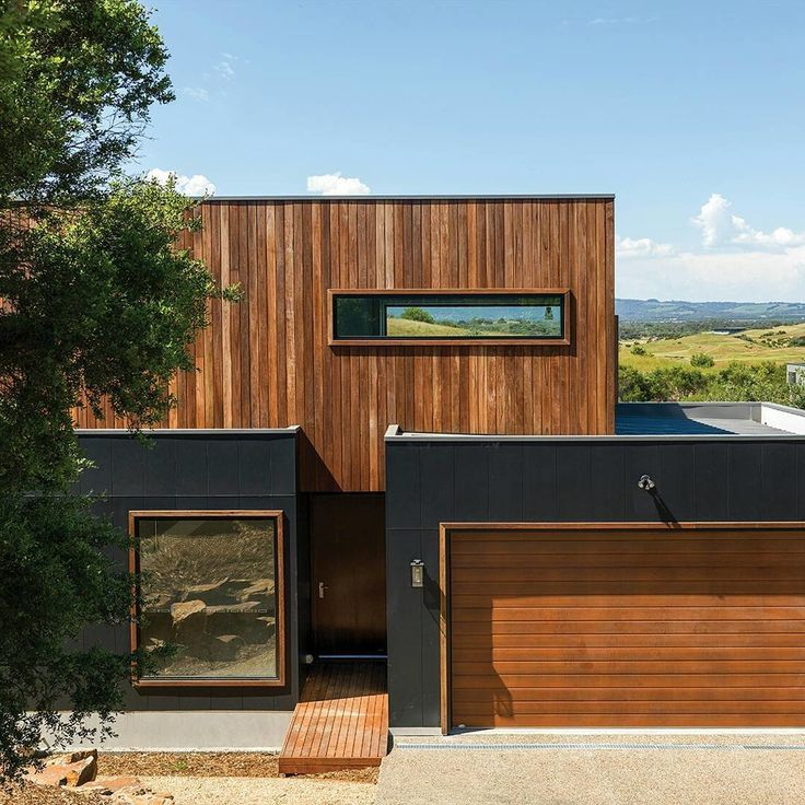 Warm Timber Accents Are Contrasted With Charcoal Scyon Cladding To Put A Modern Spin On A Rustic Loo House Cladding Facade House Exterior Cladding