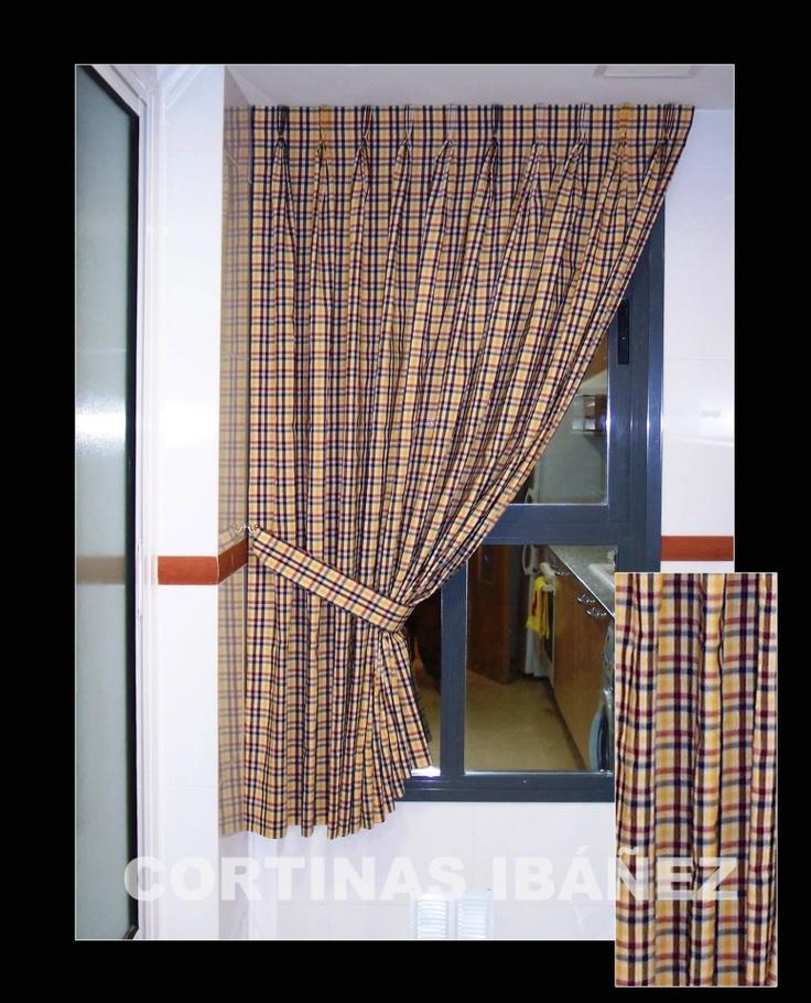 Cortina tradicional en riel y abrazadera para ventana de - Cortinas con riel ...