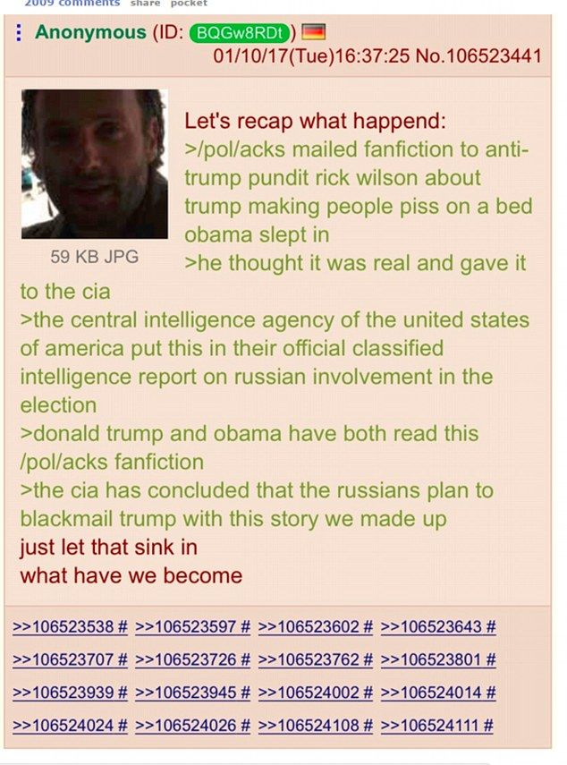 A Reddit user outlined the strange theory, suggesting that the salacious parts of the controversial dossier, released by BuzzFeed, were nothing more than fictional stories made up by a 4chan user and mailed to an anti-Donald Trump GOP political consultant