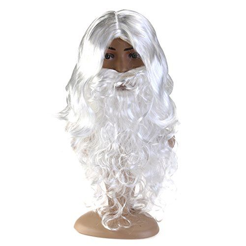 Pixnor Santa perruque et barbe mis en Père Noël Claus Magic: Pour Halloween, carnaval, fêtes costumées, parties de célibataire. Une taille…