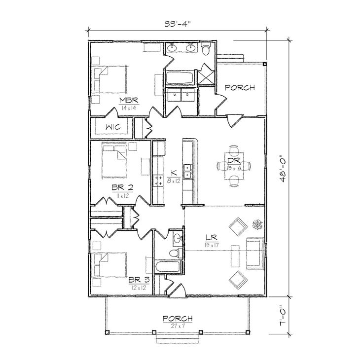 Best 25 bungalow floor plans ideas on pinterest cottage for One bedroom bungalow floor plans