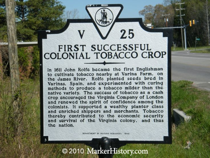 henrico county virginia history | First Successful Colonial Tobacco Crop V-25 | Marker History