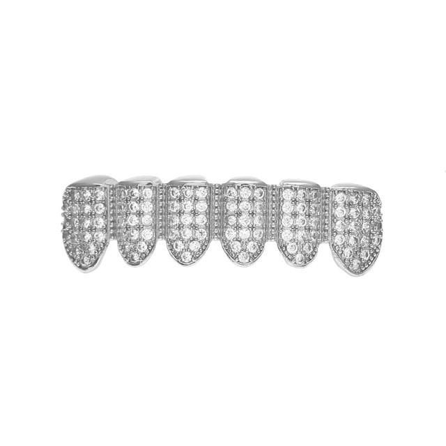 [BOTTOM] LUXURY SILVER ICED OUT DIAMOND GRILLZ